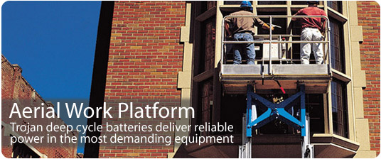 Aerial Work Platform | Trojan deep cycle batteries deliver reliable power in the most demanding equipment